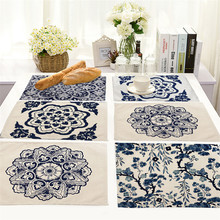 Chinese style blue and white place mat cotton orchid cloth placemats insulation pad manufacturers Coasters table mat napkin(China)
