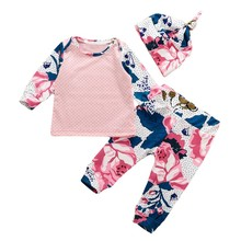 Autumn Style Infant Clothes Baby girls Clothing Sets Newborn Fashion rose Baby Clothes Tops+Long Pants Leggings 2pcs Outfits Set