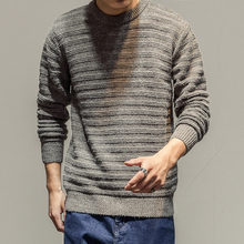 Retro Simple Color Twist Simple Wild Sweater Youth Casual Round Knitted Sweater Men(China)