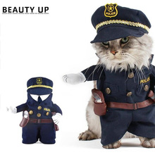 Pet Costume Policeman Style Cosplay Jeans Clothes With Cap Spitz Dog Cat Funny Apperal Jumpsuits(China)