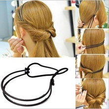 Fashion Women Girl Double Layer Adjustable Head Hair Hoop Elastic Hair Rope Hair Band Hair Accessories Hot Sale