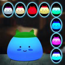 Creative Cute Mascot Night Light USB Rechargeable  Cartoon Lamp 2 Control Touch Sensor Portable Colorful Light for Baby Nursery