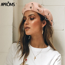 Aproms Pink Wool Metal Hoop Beret Cap Women Elegant 90s Dream Autumn Winter Female Casual French Beret Hat Statement Accessory(China)