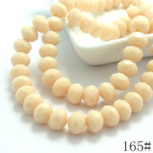 Wholesale 40pcs 8mm Rondelle Faceted Crystal jewelry Porcelain Glass Loose Spacer Beads Beige porcelain(China)