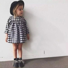 toddler tutu baby dress summer style small black white plaid dresses for girls cheap clothes China girl party clothing