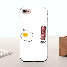 Fried Eggs Ham bacon best friends Pattern Rubber PC Phone Accessories For iPhone 7 plus case