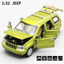 1/32 Scale USA JEEP Grand Cherokee SUV Diecast Metal Pull Back Six Door Can Open Flashing Musical Car Model Toy For Gift Kids(China)