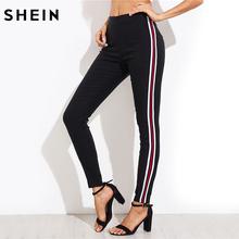 SHEIN Ladies Side Striped Skinny Pants High Waist Woman Pants Casual Women Autumn Black Zipper Fly Skinny Trousers(China)