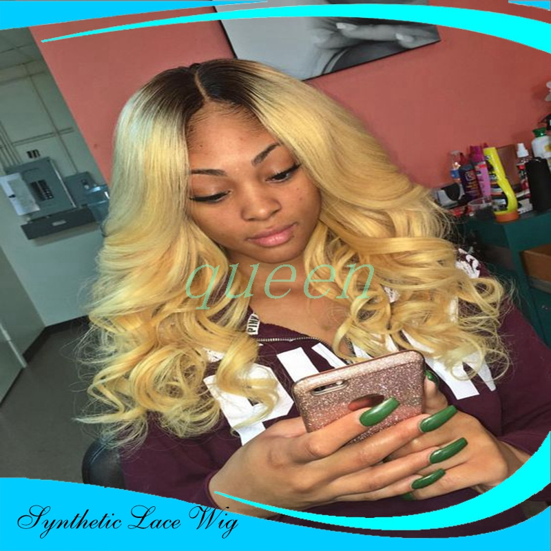 Natural blonde ombre loose wave hair wig for women dark root black/blonde synthetic lace front wig premium heat resistant hair<br><br>Aliexpress