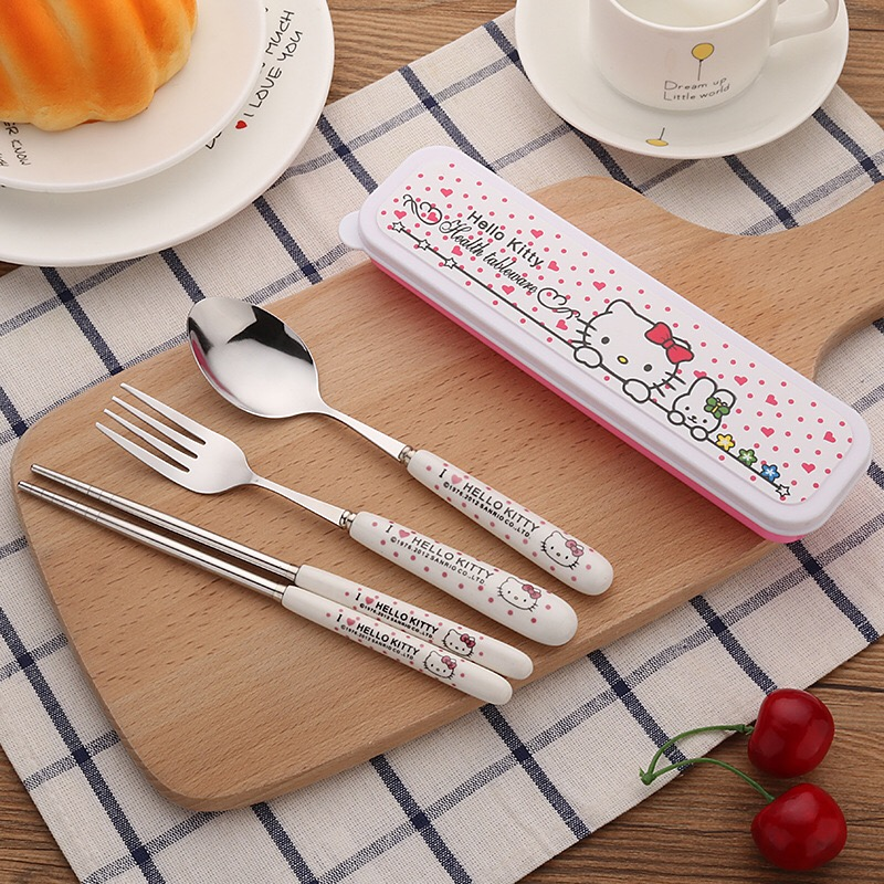 4pcs Cute Pink Hello Kitty Tableware Set Chopsticks Fork Spoon Storage Pouch