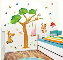 Free Shipping Oversize Cartoon Animal Monkey on Tree Wall Decal Baby Stickers for Kids Room Home Decor(China)