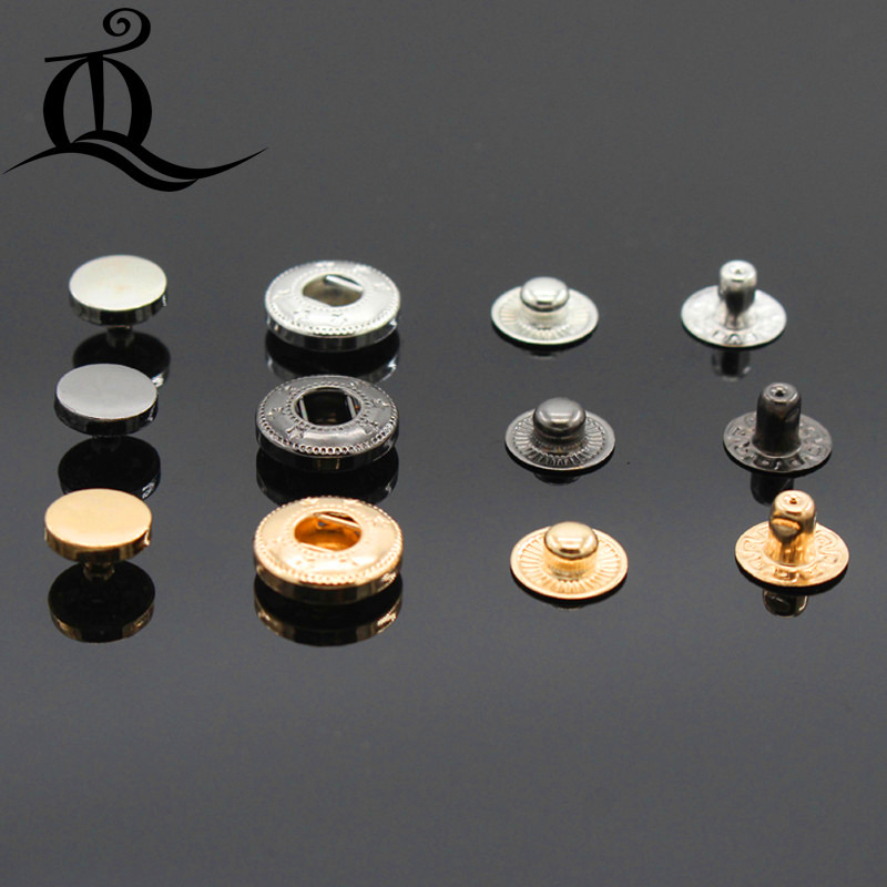 10pcs 10mm-15mm mix Smooth Snap Fastener Press Buttons Botoes Sewing Leather Craft Clothes Bags Accessories,Jeans metal buttons