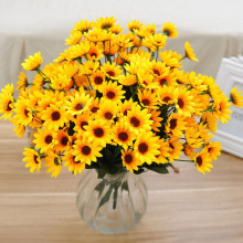 Silk Sunflower Artificial Flower 14 Head For Wedding Car Decoration DIY Garland Decorative Floristry Fake Flowers Flower Bouquet