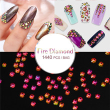 Candy Lover 1440pcs/pack Newest 3D Fire Diamond Nail Art DIY Rhinestones Crystal Flat Back Non Hot fix Colorful Nail Art Tools