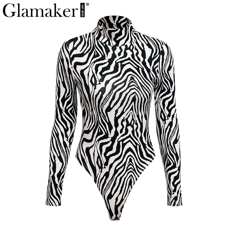 Animal Print Turtleneck, Long Sleeve Bodysuit, Women's Winter Sexy Bodysuits 11