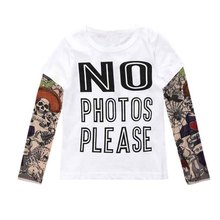 Summer t-shirt cotton boys clothes casual baby children clothing tattoo print long sleeve t shirts toddler kids top tees 1-5year(China)