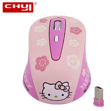 Wireless Mouse Hello kitty 2.4 GHZ Mute Silent Click Optical Computer Mice Gaming Mouse sem fio Mause For PC gamer Laptop Girl(China)