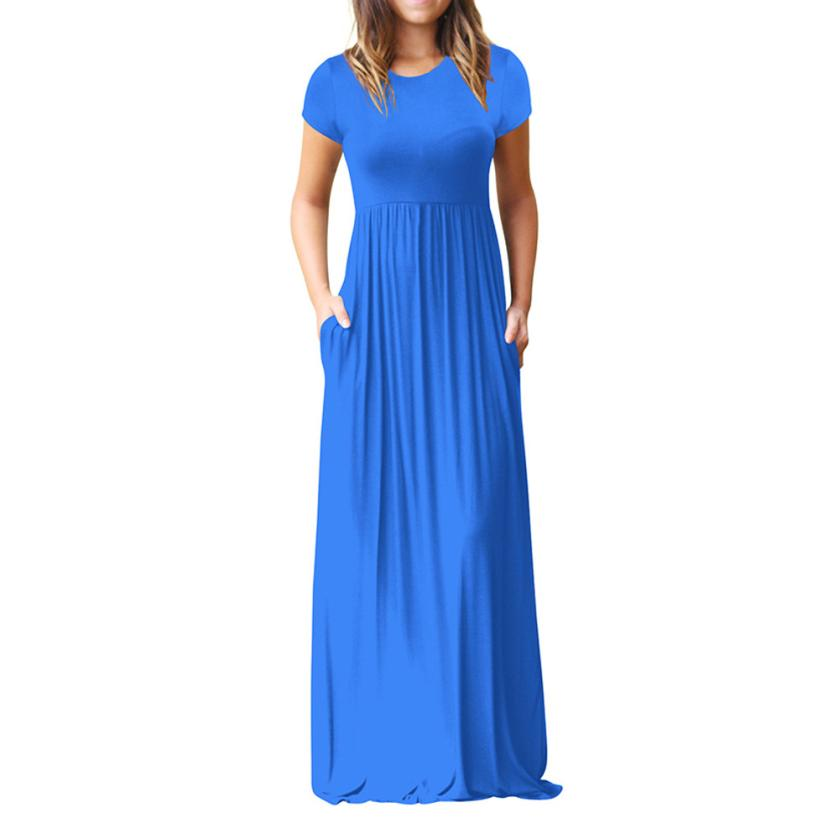 Hot Sale Floor Length Dress Women O Neck Casual Pockets Short Sleeve Loose Party Dress Vestido Longo De Festa 3