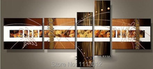 Hand Painted Modern Abstract Home Wall Decoration Art Canvas Oil Paintings For Dining Room 5 Panel Picture For Living Room Sale(China)