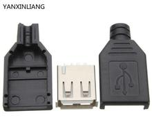 10Pcs Type A Female USB 4 Pin Plug Socket Jack Connector Plug Socket with Black Plastic Cover Seat Welding Wire Adapeter