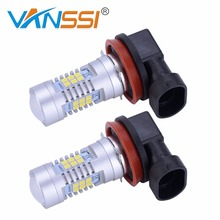 VANSSI 2pcs White LED H11 H8 LED H10 HB3/9005 H16 9006/HB4 LED High Power 21SMD Car Fog Bulb Daytime Running Light DRL Lamp