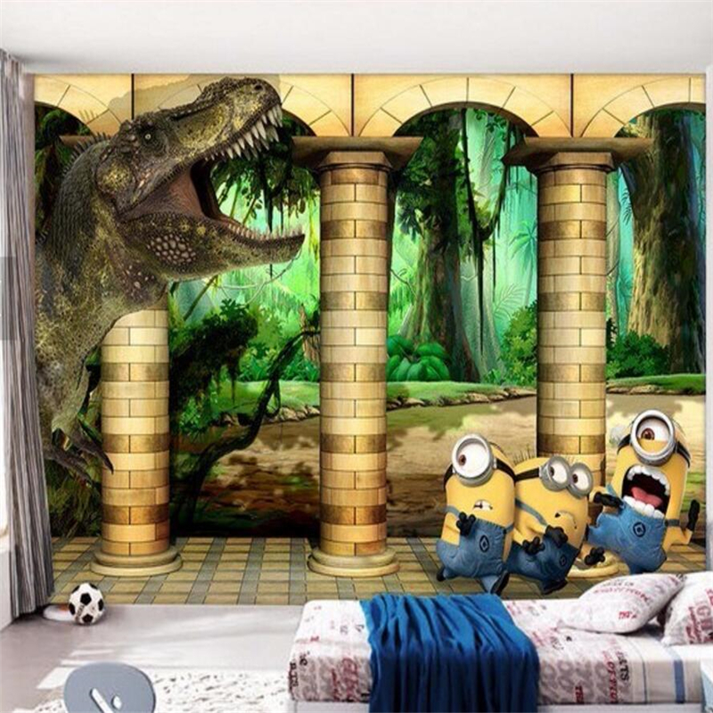 Mural wallpaper dinosaur Roman column cartoon pictures on the wall mural large mural wallpaper 3 d sitting room sofa  wallpaper <br><br>Aliexpress