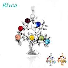 A0095 Rivca Natural Crystal 7 Chakra Stone Tree Of Life Pendant Necklace For Women Reiki Symbols Yogo Energy Pendant Amulet