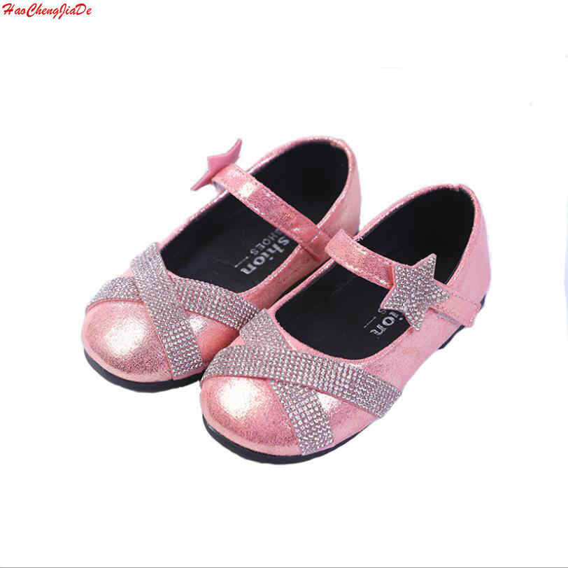 Обувь для девочек кожаная обувь для детей со стразами на низком каблуке принцесса  обувь для девочек e5518359d7a