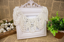 White Handmade Imitate Pearl Fake Collar Fashion pearl beads fake collar for women Fancy lady crochet pearl beads fake collar