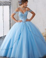 Vestidos De 15 Anos Debutante Gowns Sweet Ball Gowns Cinderella Quinceanera Dresses Princess blue Quinceanera Dresses 2017(China)