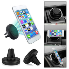 2pcs/set Universal Car Mobile Phones Holder Plastic Vehicle Magnetic Air Vent Mount Branket For Iphone For Samsung Black(China)