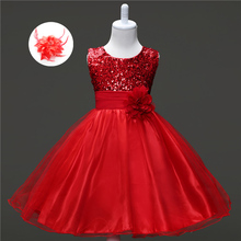 Cheap Party Clothing Design Sequined Little Girl Prom Kids Flower Girl Dress Tulle Wedding Ceremony Children Dress Rose Red(China)