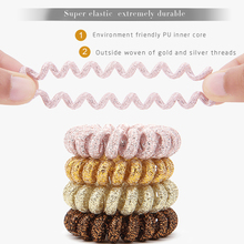 3PCS 2016 HOT SALE headbands Multicolor scrunchie elastic hair band ring woven of gold and silver threads non-skid treatment(China)