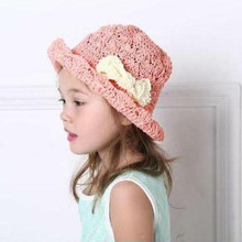 2017 Fashion Parent -Child Sun Hat Kids Wide Brim Straw Hats Bowknot Children Summer Visor Beach Hat Foldable Cappelli Chapeau