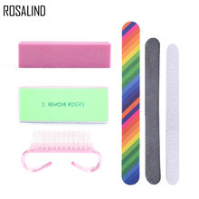 Rosalind 6pcs Lot Nail Cleaning Set For Manicure With Sand Buffer Sticks Clean Brush Art Tool Gel Polish Accessories