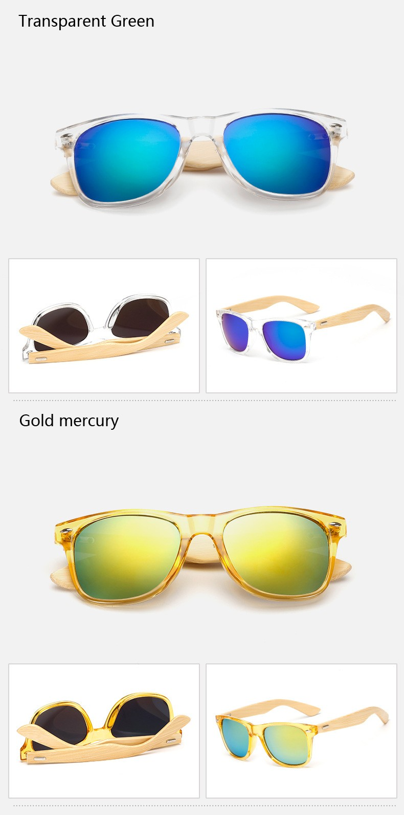 Ralferty Retro Wood Sunglasses Men Bamboo Sunglass Women Brand Design Sport Goggles Gold Mirror Sun Glasses Shades lunette oculo 15