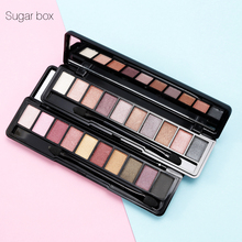 Sugar box 10 Colors Eyeshadow Palette Eye Makeup Easy to Wear Nude Shimmer Matte Eye Shadow Palette Kit with Sponge Brush(China)
