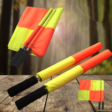 2pcs/set Soccer Referee Flag Sports Match Football Linesman Flags with Bag Referee Equipment Square