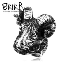 Beier new store 316L Stainless Steel ring top quality  Huge Tibetan Antelope Cool Animal Punk Heavy Metal Jewelry LLBR8-157R