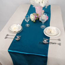 10 pieces Lake Blue Satin Table Runner 12inch x 108inch (30cm x 275cm) 20 Colors Wedding Party Hotel Home Decoration(China)