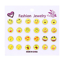 9 or 12Pcs/Lot Fashion Cute Yellow Smile Emoji Face Heart Stud Earring For Women Girls Gift 5 Styles Wholesale New Arrival