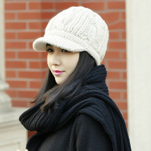 Beige Women Peaked Cap Warm Winter Caps Knitted Hats For Woman Lady's Headwear Cloth Accessory