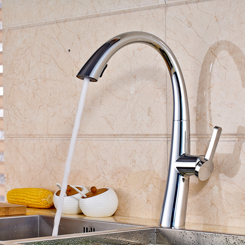 Chrome Finished Single Hole Kitchen Faucet Deck Mounted Single Handle Pull Out Swivel Spout Mixer Tap<br><br>Aliexpress