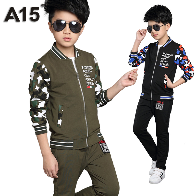A15 Childrens Clothes Set for Boys Sport Suit Kids Zipper Toddler Boy Clothing Set 2pcs Camouflage Tracksuit Age 6 8 12 14 Year<br><br>Aliexpress