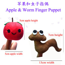 2Pcs/lot  story Cartoon Children's song apple and worm Finger Puppet,Finger Toy,Baby Dolls,kids Toys,Animal Doll