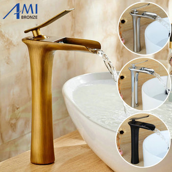 """11.5"""" Waterfall Basin Faucet Brass Mixer Hot Cold Mixer Basin Tap Chrome/Black/Antique/Nickel Brushed Bathroom Faucets"""
