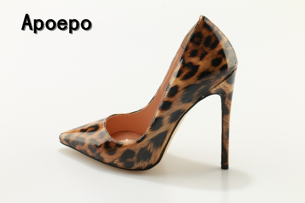 Newest patent leather high heel shoes sexy pointed toe woman pumps 2018 leopard printed stiletto heels thin heels dress shoes <br>