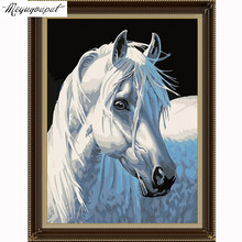 5d diy diamond mosaic diamond embroidery Christmas GIFT 3D diamond painting white horse animal pictures home decor new year GIFT(China)