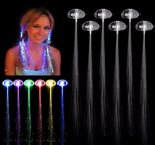 80PCS Luminous Light Up LED Hair Extension Flash Braid Club Pub Birthday Halloween Party Hair Glow By Fiber Optic With Battery