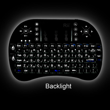 2.4G wireless Rii Mini i8 + Multifunction Backlit Hebrew Russian Spanish  Keyboard with Touchpad for Smart Android IPTV BOX